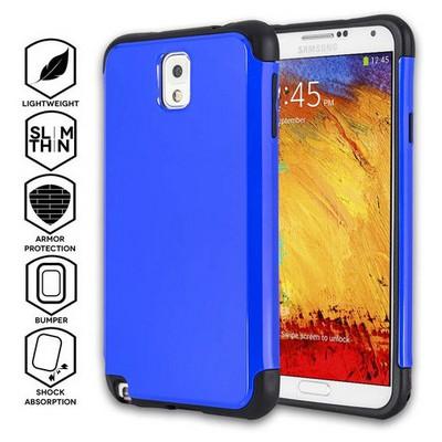 Microsonic Slim Fit Dual Layer Armor Samsung Galaxy Note 3 Kılıf Mavi Cep Telefonu Kılıfı