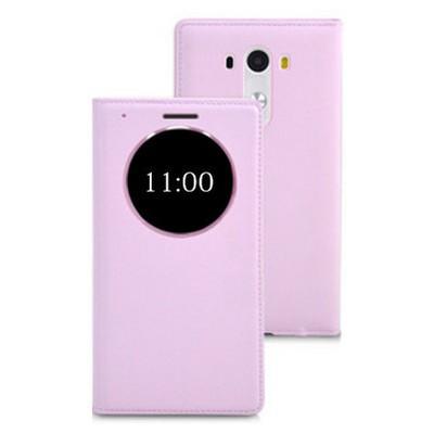 Microsonic View Slim Kapaklı Deri Lg G3 Mini (g3 S, G3 Beat) Kılıf Akıllı Modlu Pembe Cep Telefonu Kılıfı