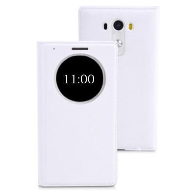 Microsonic View Slim Kapaklı Deri Lg G3 Mini (g3 S, G3 Beat) Kılıf Akıllı Modlu Beyaz Cep Telefonu Kılıfı