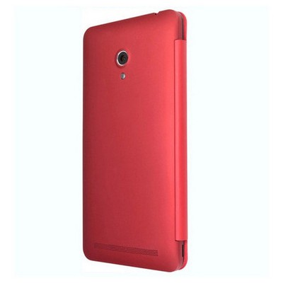 Microsonic View Cover Delux Kapaklı Asus Zenfone 6 Kılıf Akıllı Modlu Kırmızı Cep Telefonu Kılıfı