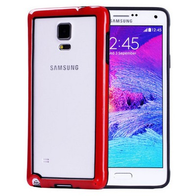 Microsonic Soft Bumper Samsung Galaxy Note 4 Kılıf Kırmızı Cep Telefonu Kılıfı