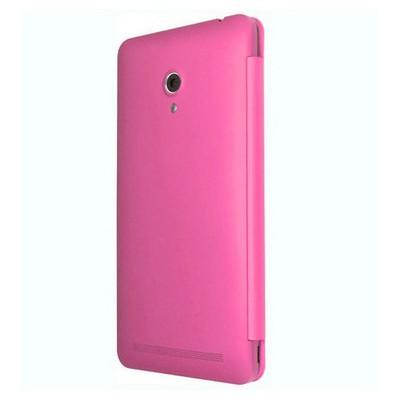 Microsonic View Cover Delux Kapaklı Asus Zenfone 6 Kılıf Akıllı Modlu Pembe Cep Telefonu Kılıfı