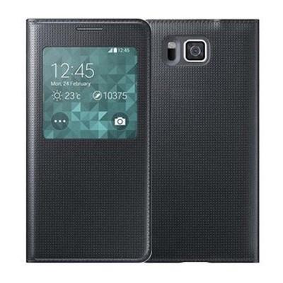 Microsonic View Cover Delux Kapaklı Samsung Galaxy Alpha Kılıf Akıllı Modlu Siyah Cep Telefonu Kılıfı