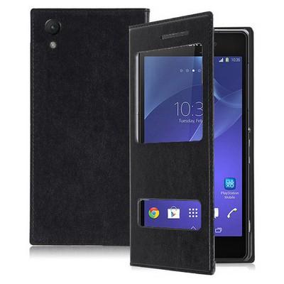 Microsonic Dual View Delux Kapaklı Sony Xperia Z2 Kılıf Siyah Cep Telefonu Kılıfı