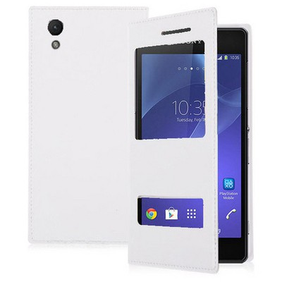 Microsonic Dual View Delux Kapaklı Sony Xperia Z2 Kılıf Beyaz Cep Telefonu Kılıfı