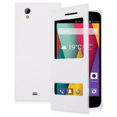 Microsonic Dual View Delux Kapaklı General Mobile Discovery 2 Mini Kılıf Beyaz Cep Telefonu Kılıfı