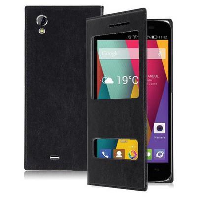 Microsonic Dual View Delux Kapaklı General Mobile Discovery 2 Mini Kılıf Siyah Cep Telefonu Kılıfı