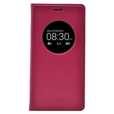 Microsonic View Slim Kapaklı Deri Asus Zenfone 6 Kılıf Akıllı Modlu Şarap Kırmızısı Cep Telefonu Kılıfı