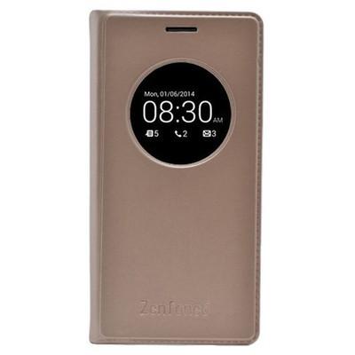 Microsonic View Slim Kapaklı Deri Asus Zenfone 6 Kılıf Akıllı Modlu Altın Sarısı Cep Telefonu Kılıfı