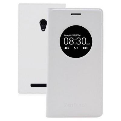 Microsonic View Slim Kapaklı Deri Asus Zenfone 6 Kılıf Akıllı Modlu Beyaz Cep Telefonu Kılıfı