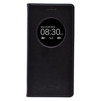 Microsonic View Slim Kapaklı Deri Asus Zenfone 6 Kılıf Akıllı Modlu Siyah Cep Telefonu Kılıfı