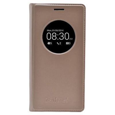 Microsonic View Slim Kapaklı Deri Asus Zenfone 5 Kılıf Akıllı Modlu Altın Sarısı Cep Telefonu Kılıfı
