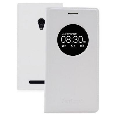 Microsonic View Slim Kapaklı Deri Asus Zenfone 5 Kılıf Akıllı Modlu Beyaz Cep Telefonu Kılıfı