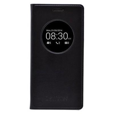 Microsonic View Slim Kapaklı Deri Asus Zenfone 5 Kılıf Akıllı Modlu Siyah Cep Telefonu Kılıfı