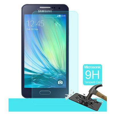 Microsonic Temperli Cam Ekran Koruyucu Samsung Galaxy A3 Kırılmaz Film Ekran Koruyucu Film