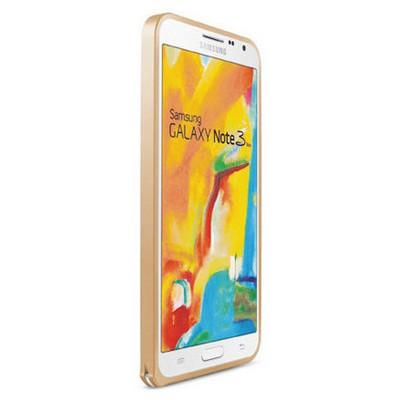 Microsonic Samsung Galaxy Note 3 Neo Thin Metal Bumper Çerçeve Kılıf Altın Sarısı Cep Telefonu Kılıfı