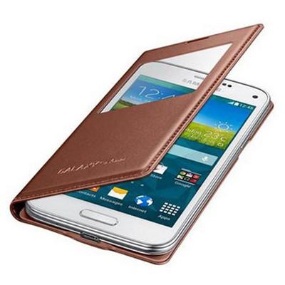 Microsonic View Cover Delux Kapaklı Samsung Galaxy S5 Mini Kılıf Akıllı Modlu Rose Gold Sarısı Cep Telefonu Kılıfı