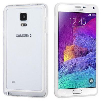 Microsonic Hybrid Transparant Samsung Galaxy Note 4 Kılıf Beyaz Cep Telefonu Kılıfı