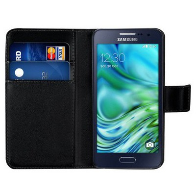 Microsonic Cüzdanlı Deri Samsung Galaxy A3 Kılıf Siyah Cep Telefonu Kılıfı