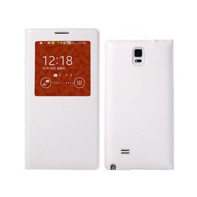 Microsonic View Slim Kapaklı Deri Samsung Galaxy Note 4 Kılıf Akıllı Modlu Beyaz Cep Telefonu Kılıfı
