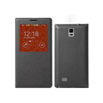 Microsonic View Slim Kapaklı Deri Samsung Galaxy Note 4 Kılıf Akıllı Modlu Siyah Cep Telefonu Kılıfı