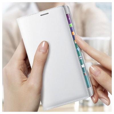 Microsonic Delux Kapaklı Samsung Galaxy Note Edge Kılıf Beyaz Cep Telefonu Kılıfı