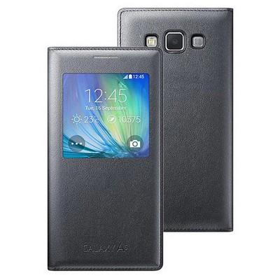 Microsonic View Cover Delux Kapaklı Samsung Galaxy A5 Kılıf Akıllı Modlu Siyah Cep Telefonu Kılıfı