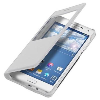 Microsonic View Slim Kapaklı Deri Samsung Galaxy A3 Kılıf Beyaz Cep Telefonu Kılıfı