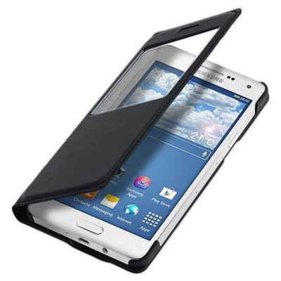 Microsonic View Slim Kapaklı Deri Samsung Galaxy A3 Kılıf Siyah Cep Telefonu Kılıfı