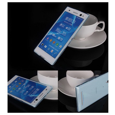 Microsonic Transparent Softsony Xperia C3 Kılıf Mavi Cep Telefonu Kılıfı