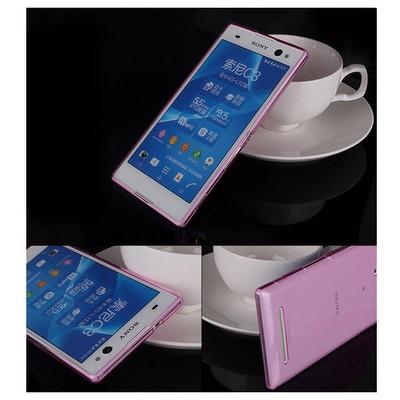 Microsonic Transparent Softsony Xperia C3 Kılıf Pembe Cep Telefonu Kılıfı