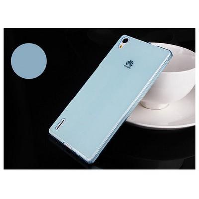 Microsonic Transparent Soft Huawei Ascend P7 Kılıf Mavi Cep Telefonu Kılıfı