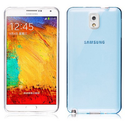 Microsonic Transparent Soft Samsung Galaxy Note 3 Kılıf Mavi Cep Telefonu Kılıfı