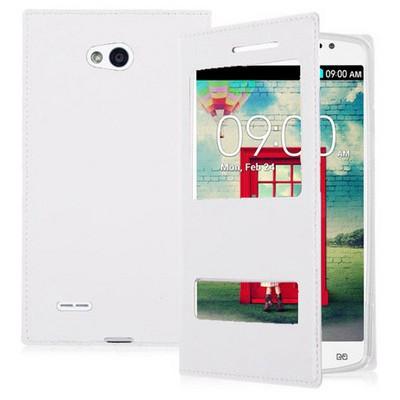 Microsonic Dual View Delux Kapaklı Lg L80 Kılıf Beyaz Cep Telefonu Kılıfı