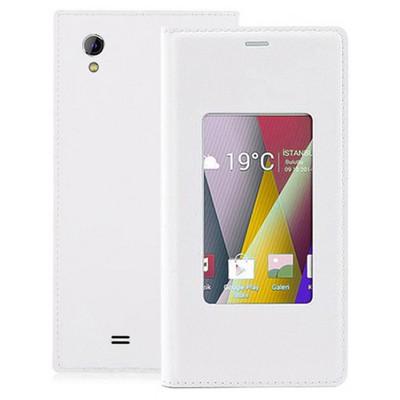 Microsonic View Slim Kapaklı Deri General Mobile Discovery 2 Mini Kılıf Beyaz Cep Telefonu Kılıfı