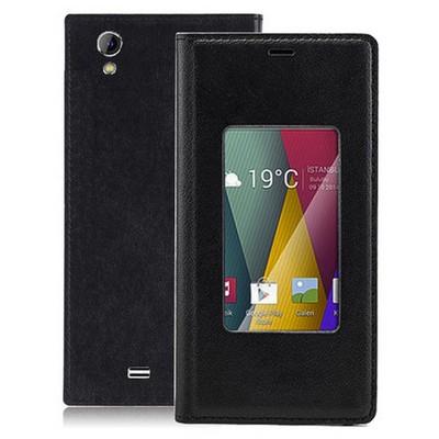 Microsonic View Slim Kapaklı Deri General Mobile Discovery 2 Mini Kılıf Siyah Cep Telefonu Kılıfı