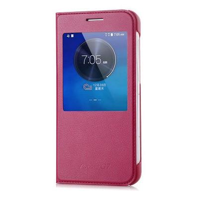 Microsonic View Slim Kapaklı Deri Huawei Ascend G7 Kılıf Şarap Kırmızısı Cep Telefonu Kılıfı