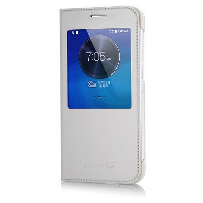 Microsonic View Slim Kapaklı Deri Huawei Ascend G7 Kılıf Beyaz Cep Telefonu Kılıfı