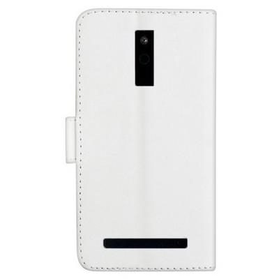 Microsonic Cüzdanlı Deri Avea Intouch 4 Kılıf Beyaz Cep Telefonu Kılıfı