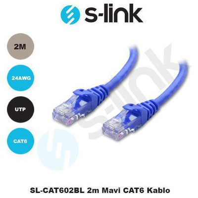 S-Link Sl-cat602bl 2m Mavi Cat6 0 Network Kablosu