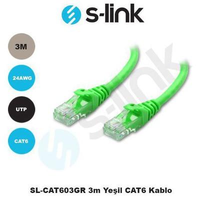 S-Link Sl-cat603-y Sl-cat603gr 3m Yeşil Cat6 Kablo Network Kablosu