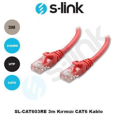 S-Link Sl-cat603re 3m Kırmızı Cat6 Kablo Network Kablosu
