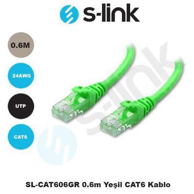 S-Link Sl-cat606-y Sl-cat606gr 0.6m Yeşil Cat6 Kablosu Network Kablosu
