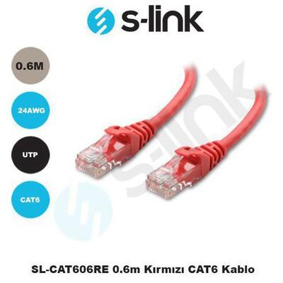 S-Link Sl-cat606-k Sl-cat606re 0.6m Kırmızı Cat6 Kablosu Network Kablosu