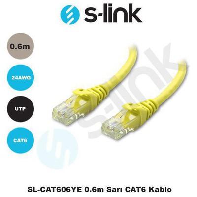 S-Link SL-CAT606YE 0.6m Sarı CAT6 Kablosu Network Kablosu