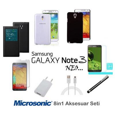 Microsonic Samsung Galaxy Note 3 Neo Kılıf & Aksesuar Seti 8in1 Cep Telefonu Kılıfı