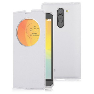 Microsonic Circle View Slim Kapaklı Deri Lg L Bello Kılıf Beyaz Cep Telefonu Kılıfı