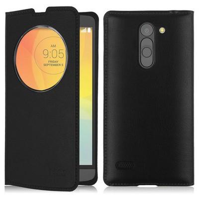 Microsonic Circle View Slim Kapaklı Deri Lg L Bello Kılıf Siyah Cep Telefonu Kılıfı