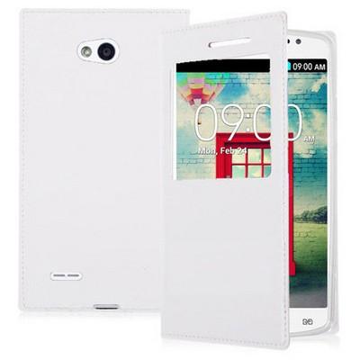 Microsonic View Slim Kapaklı Deri Lg L80 Kılıf Beyaz Cep Telefonu Kılıfı