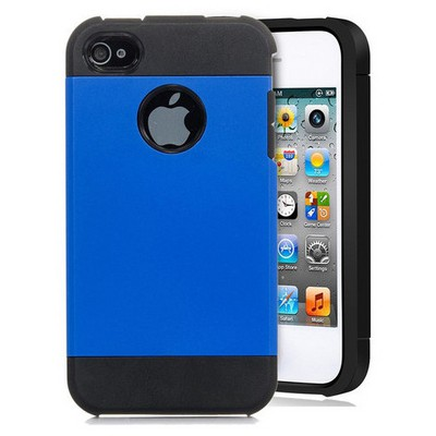 Microsonic Slim Fit Dual Layer Armor Iphone 4 & 4s Kılıf Mavi Cep Telefonu Kılıfı